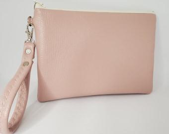 Vegan Leather Wristlet for Women, Pale Pink Faux Leather, Vegan Leather Handmade Handbag Shop