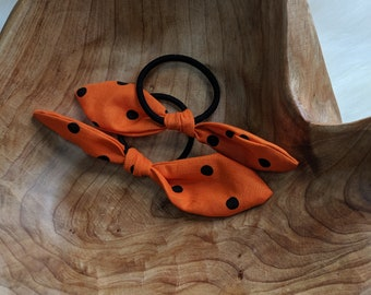 Pair of Hair Ties - Multi Color Retro Bow Hair Ties - Black and Orange Fabric - Gift for Her - Best Friend Gifts - Uxbridge Pride Colors