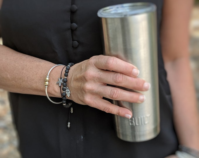 Black Lava Stone Stretch Bracelet with Hamsa Charm - Great Gift for Yogi - Grounding Stone Bracelet  - Meditation Jewelry - Gift for Her