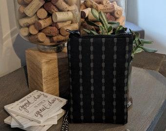 Cell Phone Crossbody Bag - Birthday Present - Handmade Crossbody Bag - Gift for Her - Handbag Shop - Black and Gray