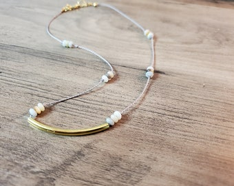 Light Gray Silk Cord with Gold Piece -  Beautiful Simple Necklace - Gift for Her