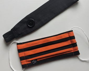 Set of Black and Orange Print Headband w/Buttons and Mask - Reusable Face Mask - PPE - Handmade Masks