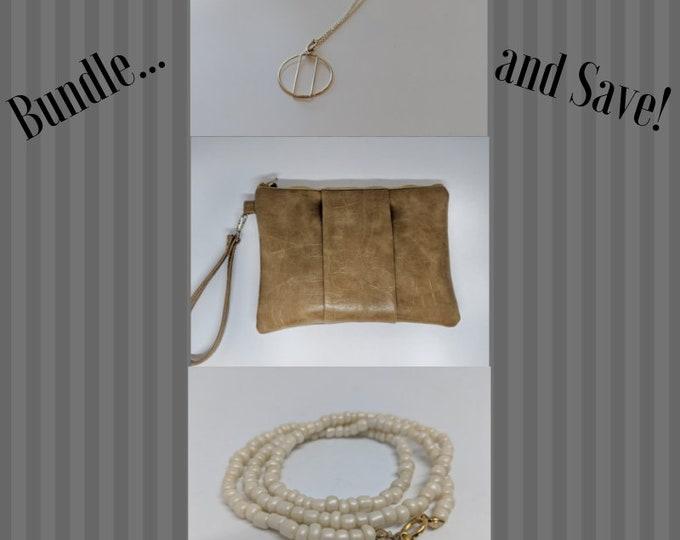 Bundle of Goodies - Wristlet, Bracelet and Necklace Bundle - Deal Bundle - Gift for Her - Birthday Present