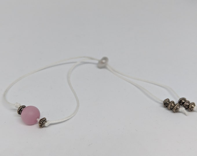 Adjustable Bracelet made with Cord-Pink and Silver Beads - Handmade  Accessory - Jewelry for Her - Gift for Women - Gift for Girls