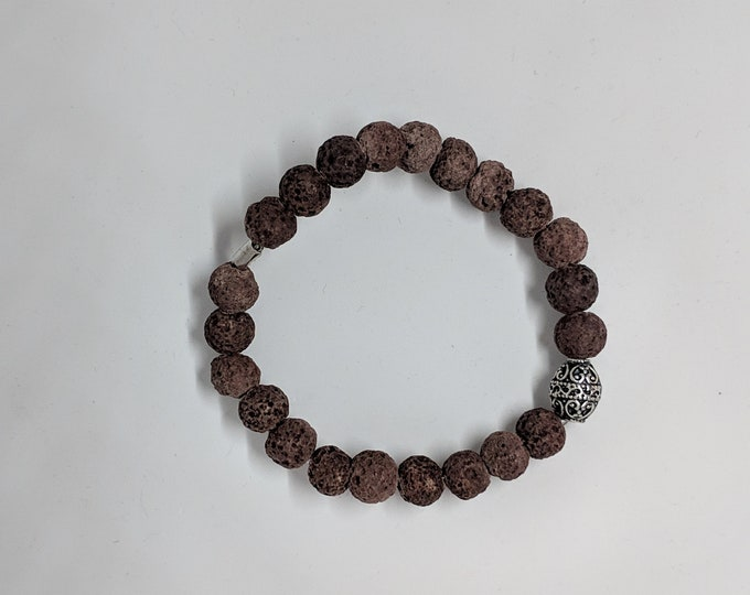 Lava Stone Stretch Bracelet with Ornate Silver Bead - Great Gift Idea - Grounding Lava Stones - Meditation Jewelry - Jewelry Gifts