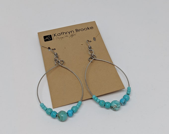 Turquoise and Silver Beaded Hoop Earrings - Fashion Jewelry for Women - Great Gift Idea - Jewelry Gift