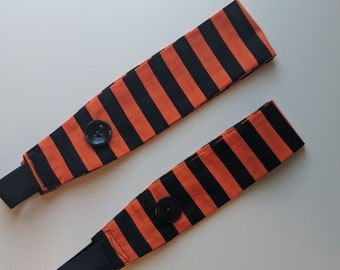 Headband with Buttons - Teen/Adult Size - Black and Orange Striped Print - Headband for Mask -Ear Saver - Washable - Handmade Accessories
