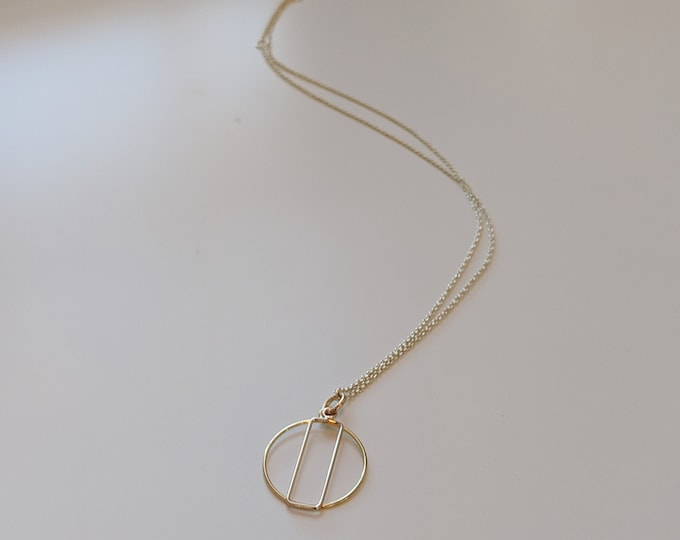 "Gold Chain Necklace with Circle and Rectangle Charms - Adjustable Necklace from 16""-18"" Chain - Gift for Her - Birthday Present"