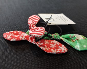 Hair Tie Trio - Cute Hair Ties - Christmas Theme Fabric Hair Ties - Hair Accessories for Girls and Women - Birthday Gift - Party Favors