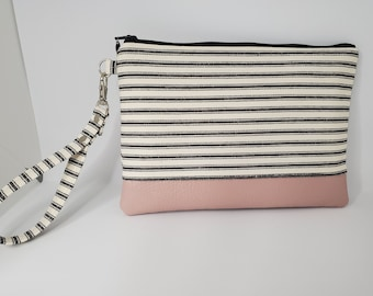 Vegan Leather and Cotton Wristlet for Women, Black and White Striped Cotton and Pale Pink Faux Leather, Handmade Handbag Shop