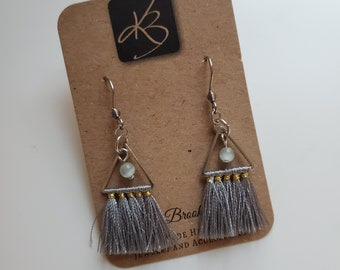 Gray Tassel and Pale Green Beaded Dangle Earrings, Great Gift for Women, Fashion Jewelry, Birthday Present
