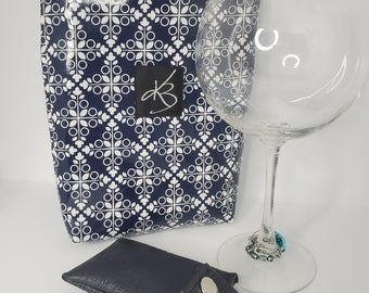 BFF BUNDLE - Navy Blue and White  - Small Travel Caddy,  Key Chain Card Case and Cocktail Glass Charm Set