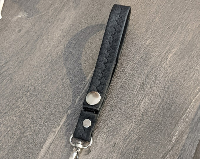 Gray Black Faux Leather Key Chain - Travel Accessory - Handmade Gift - Gift for Graduate