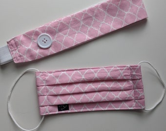 Set of Pink and White Print Headband w/Buttons and Mask - Reusable Face Mask - PPE - Handmade Masks