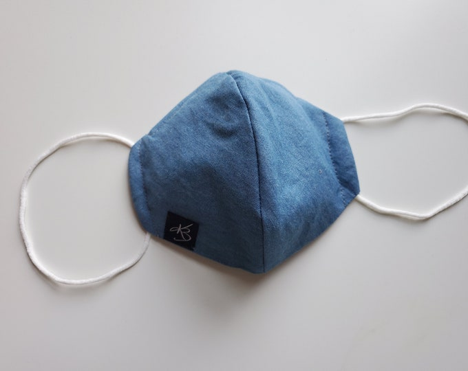 Large Reusable Face Mask  - Denim Fabric- Washable Fabric - Children and Adult Masks