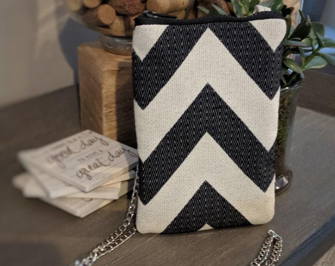 Cell Phone Crossbody Bag - Birthday Present - Handmade Crossbody Bag - Gift for Her - Handbag Shop - Black and White