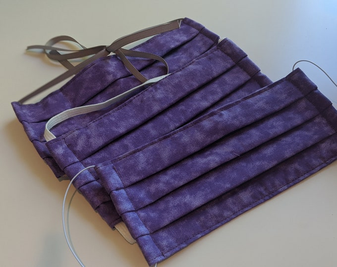 Size Small Reusable Cotton Face Mask -Wisteria Purple -Three Layer Mask -Polypropylene Fabric- Made in USA -Washable Mask