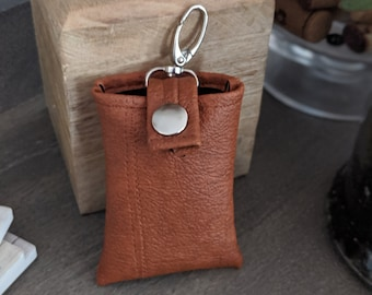 Key Chain Card Case - Key Chain Accessories - Birthday  - Faux Leather Credit Card Case - Dark Gray Faux Leather - London Tan Faux Leather