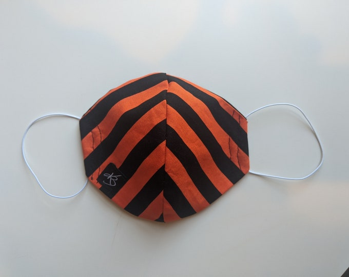 Small/Medium Reusable Face Mask  - Black and Orange Striped Fabric- Uxbridge Colors - Washable Fabric - Children and Adult Masks