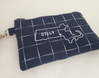 Your State/Zip Key Chain Pouch - Navy Blue and White Tote - Choose your Zip Code - Indoor/Outdoor Fabric