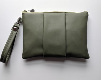 Olive Green Faux Leather Wristlet for Women - Gift Accessory for Working Women -Versatile Gift for Mom on the Go -Wristlet Wallet