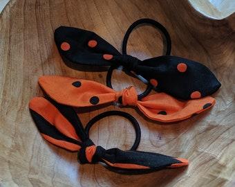 Trio of Black and Orange Hair Ties - School Spirit Colors - Halloween Hair Ties - Gift for Girls