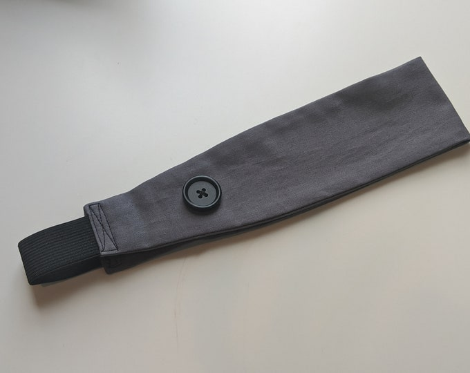 Child Size Headband with Buttons - Dark Gray Cotton - Headband for Masks - Ear Saver - Washable - Handmade Accessories