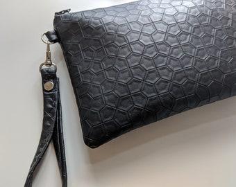 Black Textured Vinyl Fabric Wristlet - Wristlet Wallet - Versatile Handbag - Gift for Women - Handmade Accessories