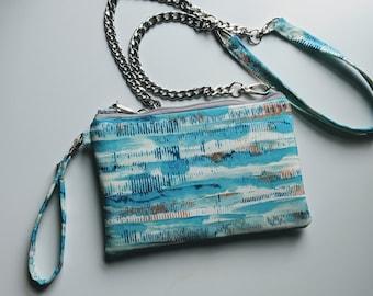 Convertible Wristlet/Crossbody Bag - Ocean Print - Summertime Bag - Fabric Crossbody - Handmade Gift