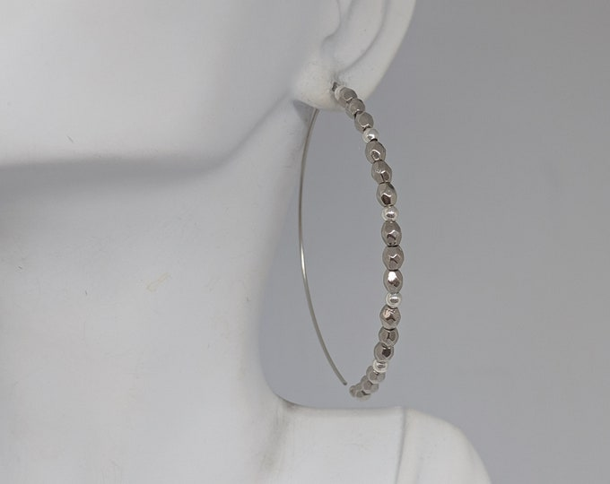 Half Hoop Earrings with White and Silver Beads - Modern Jewelry for Women - Gift for Her - Birthday Present - Beaded Hoop Earrings