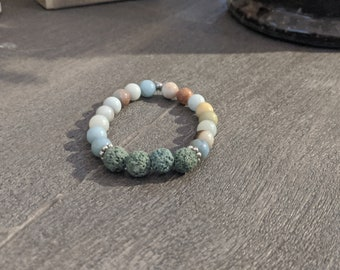 Lava Stone and Jasper Bead Stretch Bracelet  - Great Gift for Women - Grounding Lava Stones - Gift for Yogi - Gift for Her- Jewelry Gifts