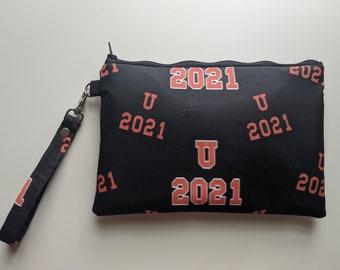 Uxbridge Spartan Custom Print Fabric Wristlet - PSG 2021 Fundraiser - Wristlet Wallet - Women's Accessories - Boutique Gifts - Gift for Her