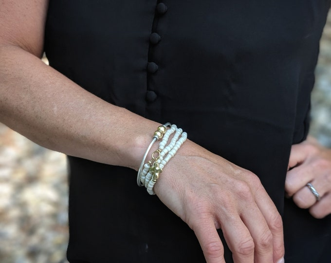 Triple Wrap Stretch Bracelet/Necklace with Gold Cross Bead - Unique Handmade Gift for Her - Stylish Jewelry for Women on the Go