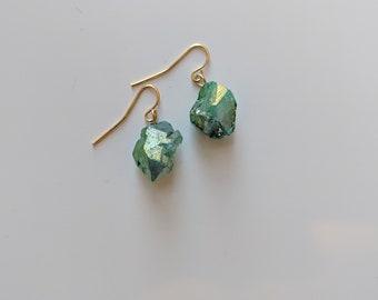 Green Aura Earrings for Women - Crystal Dangle Earrings - Gift for Her - Energy Jewelry - Zen Jewelry - Birthday Present