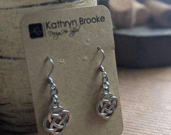 Celtic Charm Dangle Earrings - Silver Metal Earrings-  Gift for Her - Modern Stylish Accessories for Women - Birthday Present - Gift for Mom