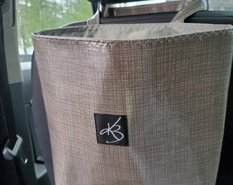Large Travel Caddy, Gray Laminated Cotton Fabric, Car Organizer, Travel Car Accessories for Women