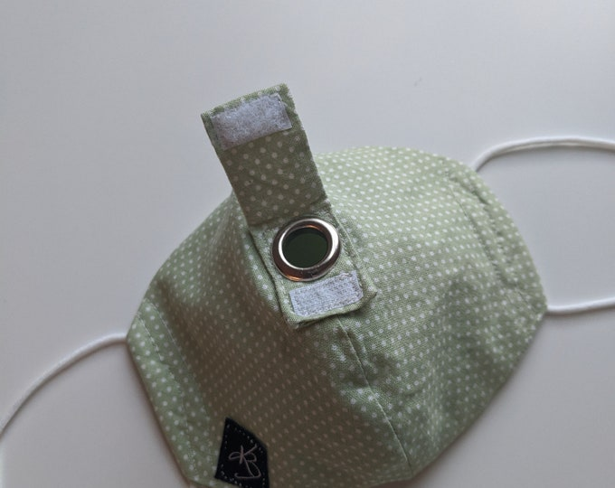 Cocktail Mask - Size Small/Medium - Light Green and White Polka Dot - Fun Gift - Reusable Mask - Washable
