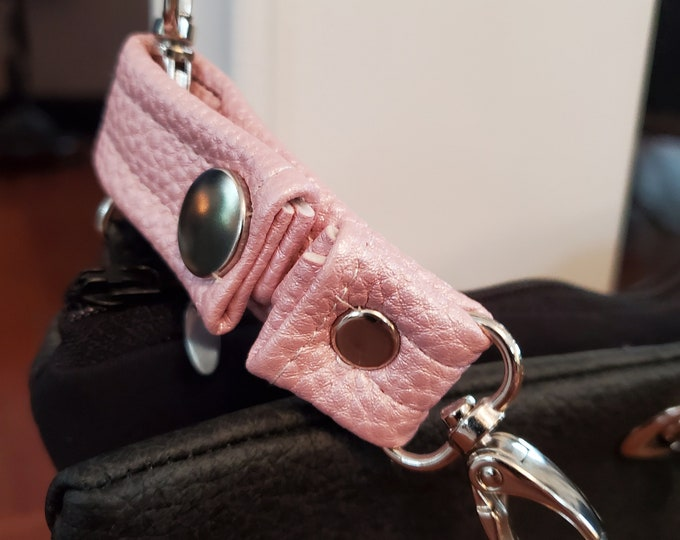 Featured listing image: Small Pink Vegan Leather Key Chain  - Pink Faux Leather - Snap Closure - Great Gift Idea - Birthday Gift or Graduation Gift