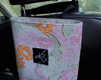 Small Car Caddy, Pastel Flower Laminated Cotton Fabric, Car Organizer, Travel Car Accessories for Women
