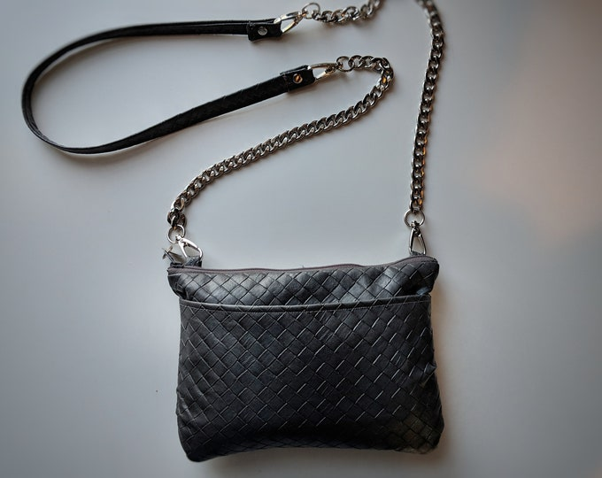 Bags Made to Order - Crossbody Bag with Gray Textured Faux Leather- Silver Metal Chain Handle - Great Gift for Women