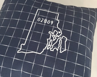 Your State/Zip Code Pillow - Square Navy and White Pillow - Choose your Zip Code - Home Decor Pillow - Indoor/Outdoor Pillow