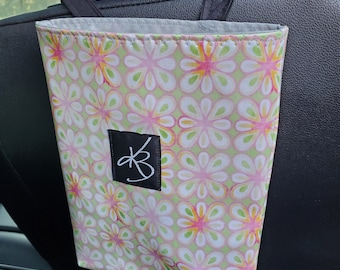 Small Car Caddy, Pink and Green Floral Laminated Cotton Fabric, Car Organizer, Travel Car Accessories for Women
