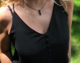 Lava Stone (#8) Necklace on Silk Cord - Black Lava Stone Bead - Zen Jewelry - Grounding Stone Jewelry - Gift for Yogi