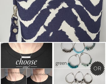 LOVE BUNDLE - Navy Blue and White - Personalized Necklace, Cocktail Glass Charms and Wristlet for your Loved One