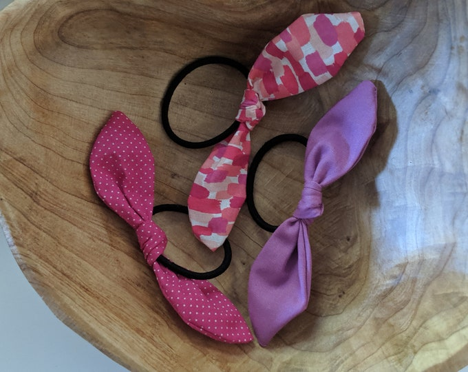 Hair Tie Trio - Cute Hair Ties - Pink and Purple Fabric Hair Ties - Hair Accessories for Girls and Women - Birthday Gift - Party Favors