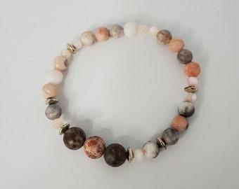 Jasper and Mother of Pearl Stretch Bracelet - Red Jasper Beads - Zen Jewelry - Grounding Stones - Precious Stones - Birthday Present