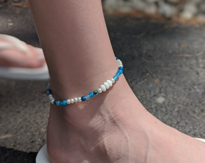 Brooke's Design Anklet - Blue Agate Beads  Stretch Anklet - Gift for Her - Summer Jewelry
