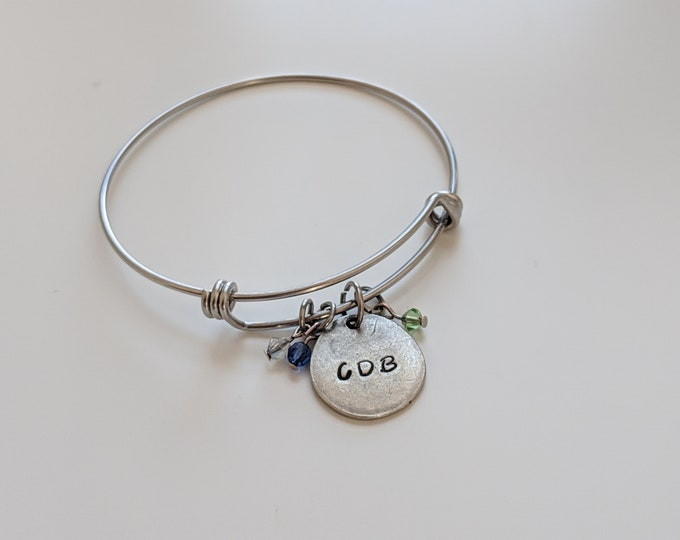 TWO Single Initial Personalized Bracelets with Initials and Birthstones - Gift for Mom - Valentines Day Gift -  Swarovski Birthstone Beads