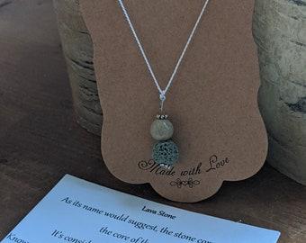Lava Stone Necklace on Silk Cord - One Green Lava Stone Bead - One Jasper Bead -  Zen Jewelry - Grounding Stone Jewelry - Gift for Yogi