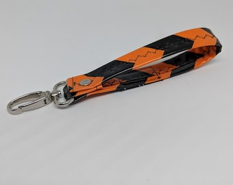 Key Chain with Black and Orange Laminated Cotton Fabric - School Pride Key Chain - Graduation Gift - Gift for Teenager